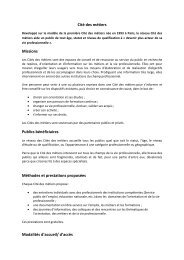 Cité des métiers Missions Publics bénéficiaires Méthodes et ...