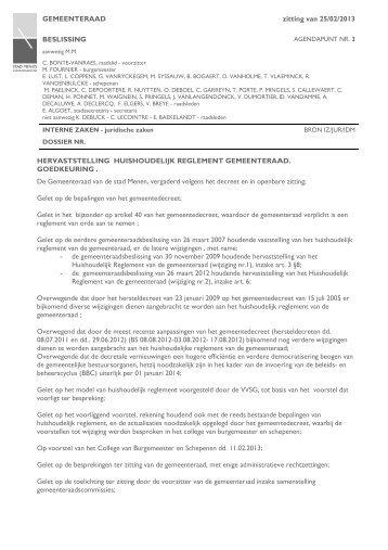 Het huishoudlijk reglement van de gemeenteraad - Menen