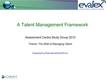 A Talent Management framework: the outcome of 10 years ... - ACSG