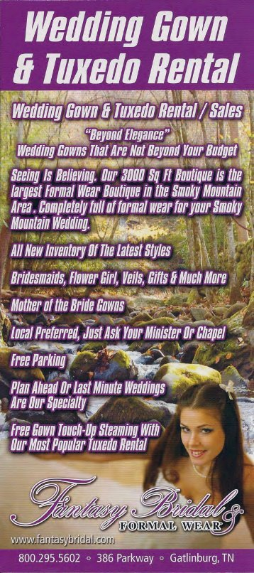 Fantasy Bridal Gatlinburg Brochure (865) 436-8997 - East Great ...