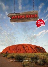 Speisekarte - Ayers Rock