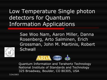 optical tes and metrology of photon pulses for quantum ... - LTD10