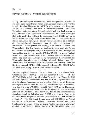 25 Karl Lenz ERVING GOFFMAN WERK UND REZEPTION Erving ...