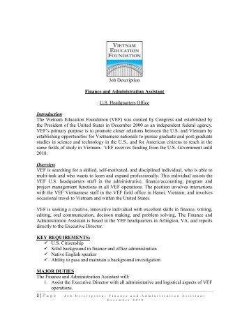 Job Description Finance And Administration Assistant U.S. .  Financial Assistant Job Description