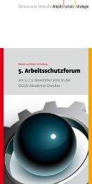 Programm 5. Arbeitsschutzforum - Gemeinsame Deutsche ...