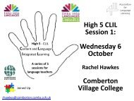 High 5 CLIL Session 1: Wednesday 6 October ... - Rachel Hawkes