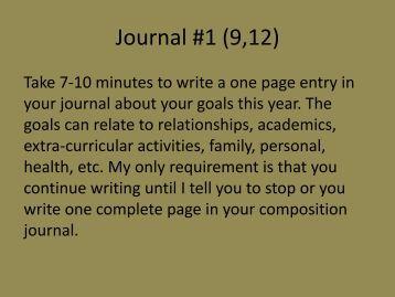 Journal #1 (9,12) - Mr. Bailey @ Hamilton Heights HS
