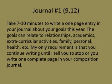 Journal #1 (9,12) - Mr. Bailey @ Hamilton Heights HS