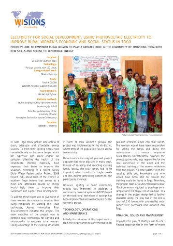 SEPS Summary Lighting Togo SE141 (.pdf | 951 KB) - WISIONS of ...