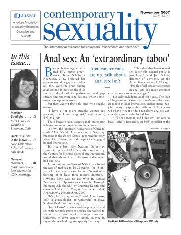 Anal Sex: An exrtraordinary taboo