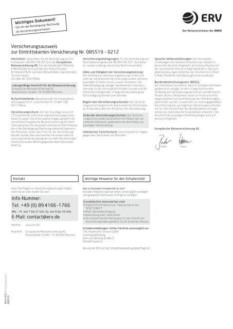 Versicherungsbedingungen - Eventim
