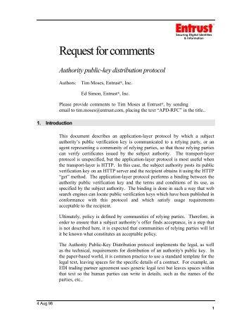 Request for comments - Authority Public-key Distribution ... - Entrust
