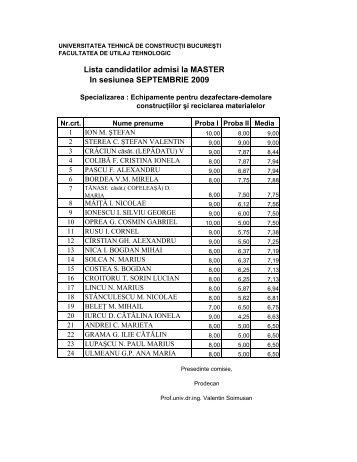 Lista candidatilor admisi - Admitere UTCB - Universitatea Tehnică ...