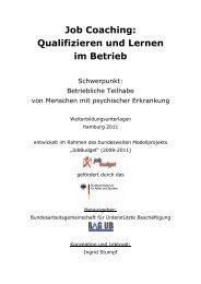 Job Coaching: Qualifizieren und Lernen im Betrieb - BAG UB eV