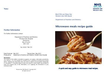 Microwave Meals Recipe Guide - NHS Western Isles