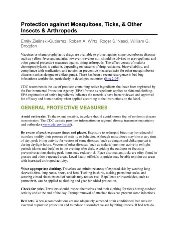 Protection against Mosquitoes, Ticks, & Other Insects & Arthropods