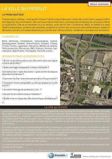 """Fiche """"La ville qui produit"""" - Grenoble"""