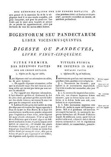 DIGESTE OU PANBECTESy LIVRE VINGT ... - Histoire du droit