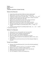 Science Grade Level: 9 Physics Academic expectations of student ...
