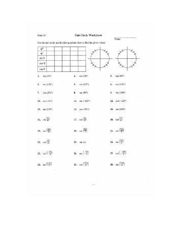 Unit Circle Worksheet - Super Teacher Worksheets