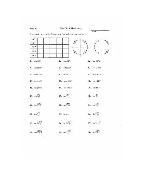 Math 36 Unit Circle Worksheet