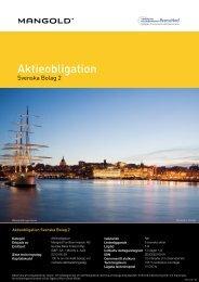 Aktieobligation Svenska Bolag 2 - Mangold Fondkommission