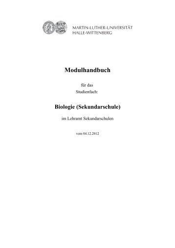 Modulhandbuch LSek - Fachbereich Biologie der Uni Halle ...