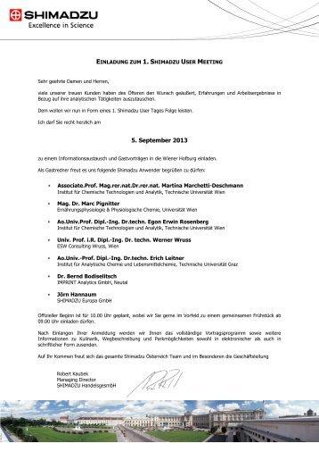 Anmeldeformular - Shimadzu Österreich