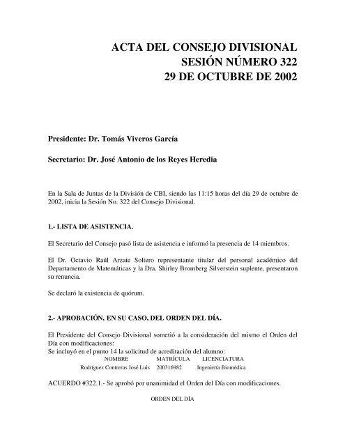 Acta 322 29-Octubre-2002 - CBI - UAM