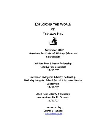 Exploring the World of Thomas Day - American Institute for History