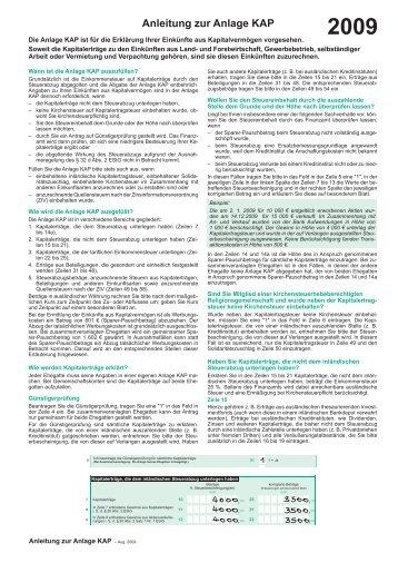 Anleitung zur Anlage KAP 2009