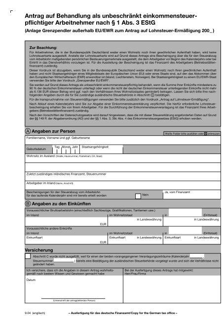 Antrag Auf Behandlung Als Unbeschrankt Einkommensteuer