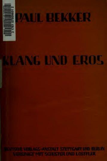 Klang und Eros : zweiter band der Gesammelten schriften