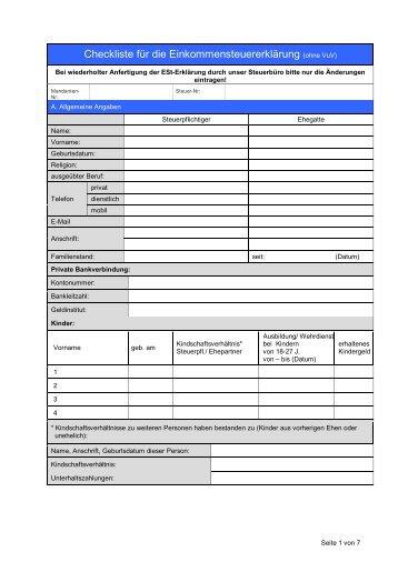 Checkliste hochzeit steuer