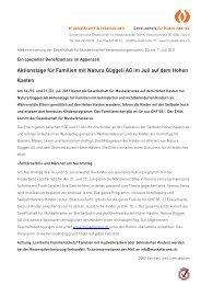 Aktionstage für Familien mit Natura Güggeli AG im Juli auf dem ...
