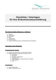 Checkliste / Unterlagen für Ihre Einkommensteuererklärung