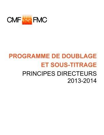 Programme de doublage et sous-titrage principes directeurs 2012 ...