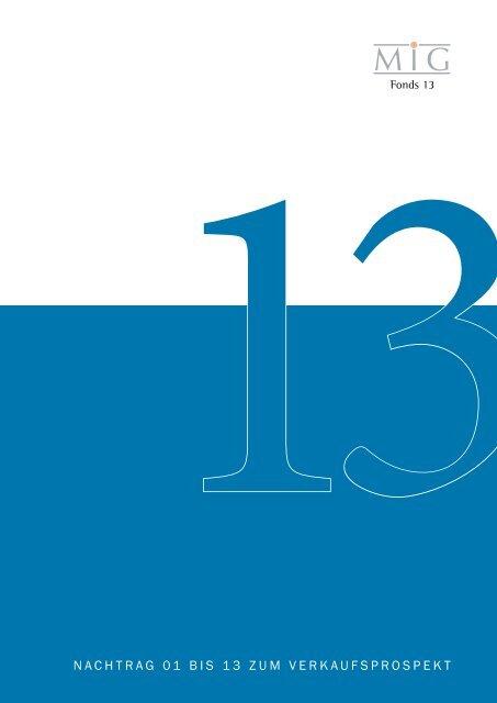 Nachtrag 01 bis 13 zum Verkaufsprospekt - Heiter Investment