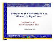 Evaluating the Performance of Biometric Matching Algorithms