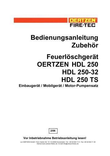 Bedienungsanleitung Zubehör Feuerlöschgerät OERTZEN HDL 250 ...