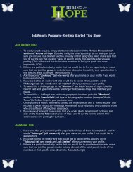 JobAngels Program - Getting Started Tips Sheet - Hiring for Hope