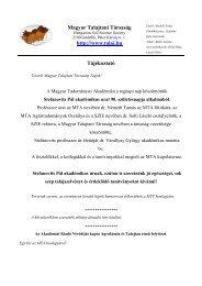 A Magyar Talajtani Társaság 2010/19. számú tájékoztatója