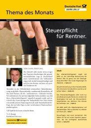 Steuerpflicht für Rentner. Thema des Monats - Renten Service