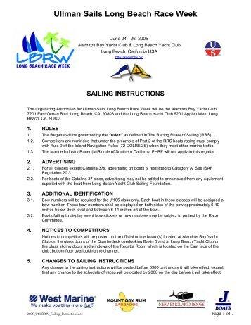 2005 Sailing Instructions - Long Beach Race Week