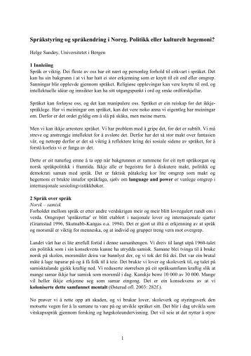 Språkstyring og språkendring i Noreg. Politikk eller ... - Språkrådet
