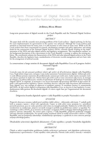 Long-Term Preservation of Digital Records in the Czech Republic ...