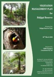 VEGETATION MANAGEMENT PLAN for Bidjigal Reserve - Land
