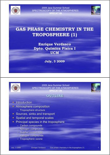 GAS PHASE CHEMISTRY IN THE TROPOSPHERE (1)