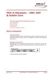 PDF/A Metadata – XMP, RDF & Dublin Core