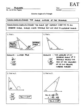 angle sums and exterior angles of triangles triangle